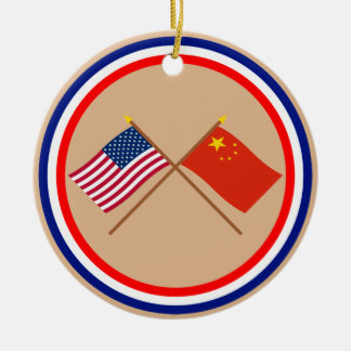 US and People's Republic of China Crossed Flags Ceramic Ornament
