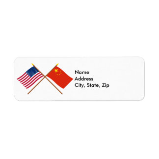 US and People's Republic of China Crossed Flags Custom Return Address Labels