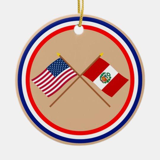 US and Peru Crossed Flags Ceramic Ornament
