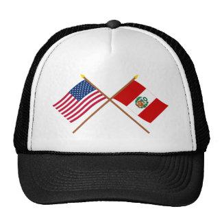 US and Peru Crossed Flags Mesh Hat