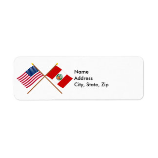 US and Peru Crossed Flags Label