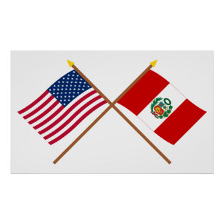 US and Peru Crossed Flags Poster