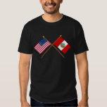 US and Peru Crossed Flags Tee Shirt