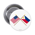 US and Philippines Crossed Flags 2 Inch Round Button