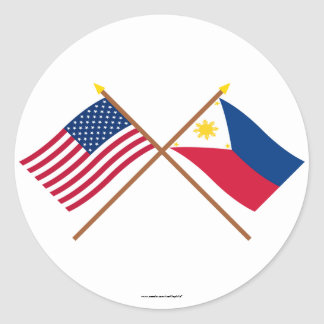 US and Philippines Crossed Flags Classic Round Sticker