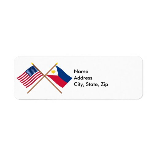 US and Philippines Crossed Flags Return Address Labels