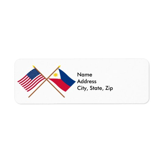 US and Philippines Crossed Flags Label