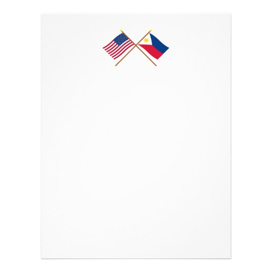US and Philippines Crossed Flags Letterhead