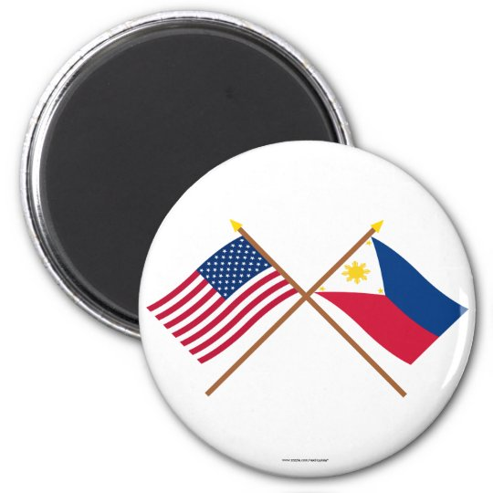US and Philippines Crossed Flags Magnet