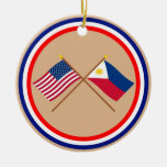 US and Philippines Crossed Flags Christmas Ornaments