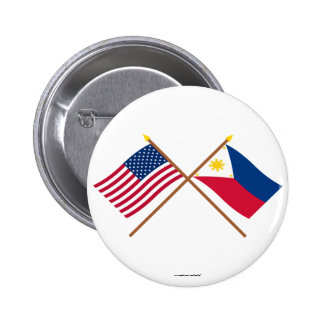 US and Philippines Crossed Flags Pinback Button