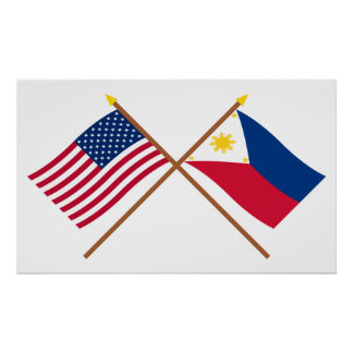 US and Philippines Crossed Flags Poster