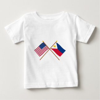 US and Philippines Crossed Flags T Shirt