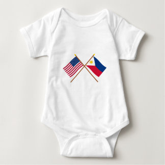 US and Philippines Crossed Flags Tee Shirts
