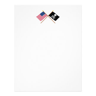 US and Pirate Crossed Flags Letterhead