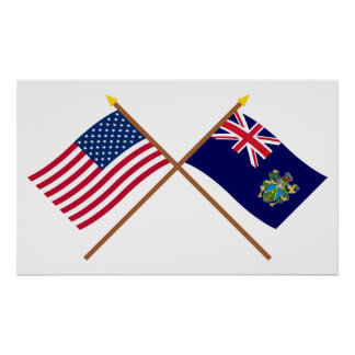 US and Pitcairn Islands Crossed Flags Poster