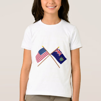US and Pitcairn Islands Crossed Flags T-Shirt