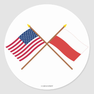 US and Poland Crossed Flags Round Stickers