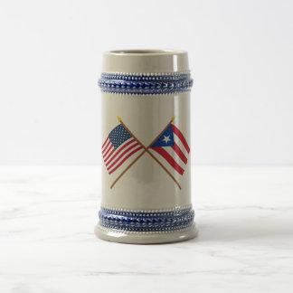US and Puerto Rico Crossed Flags Beer Stein