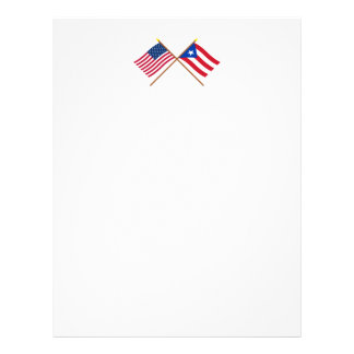 US and Puerto Rico Crossed Flags Letterhead