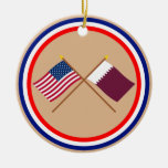 US and Qatar Crossed Flags Christmas Tree Ornament