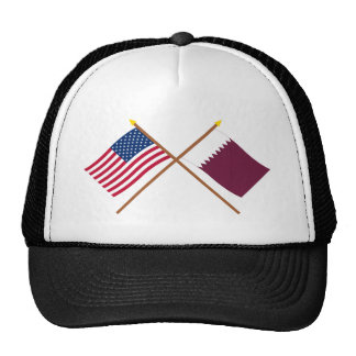 US and Qatar Crossed Flags Trucker Hats