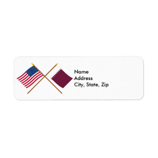US and Qatar Crossed Flags Label