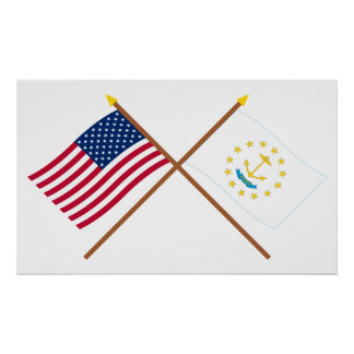 US and Rhode Island Crossed Flags Poster