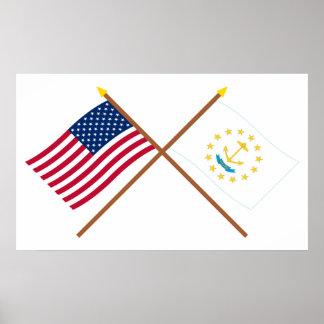 US and Rhode Island Crossed Flags Print