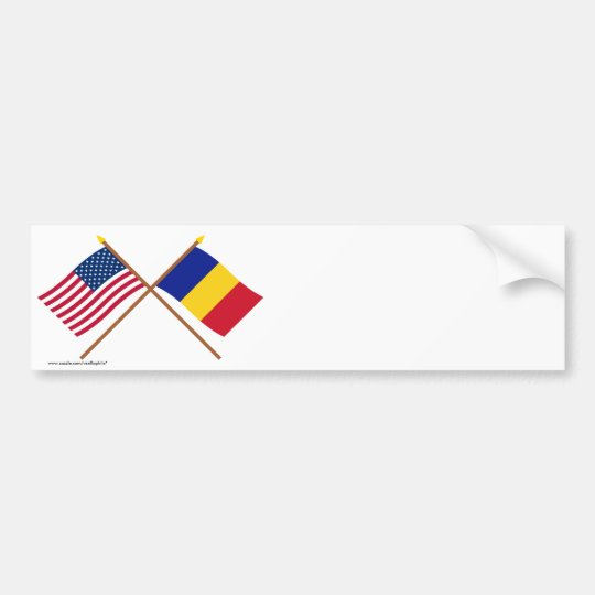 US and Romania Crossed Flags Bumper Sticker