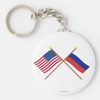 US and Russia Crossed Flags Basic Round Button Keychain