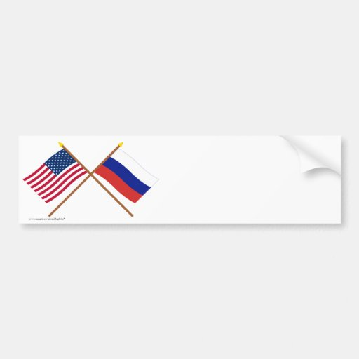 US and Russia Crossed Flags Car Bumper Sticker