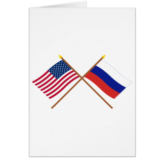 US and Russia Crossed Flags Card
