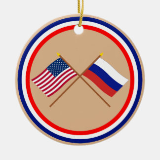 US and Russia Crossed Flags Ceramic Ornament