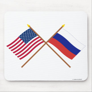 US and Russia Crossed Flags Mouse Pad