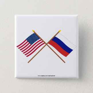 US and Russia Crossed Flags Pinback Button