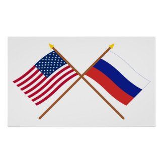 US and Russia Crossed Flags Poster