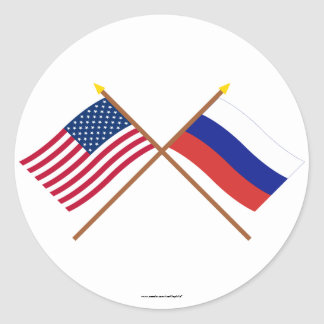 US and Russia Crossed Flags Round Sticker