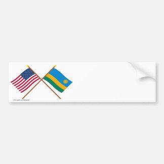 US and Rwanda Crossed Flags Car Bumper Sticker