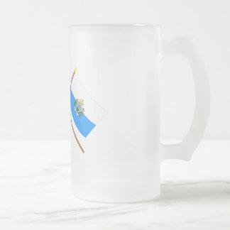 US and San Marino Crossed Flags Frosted Glass Beer Mug
