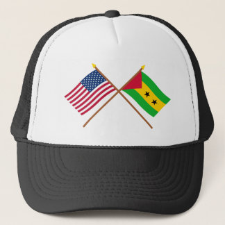 US and Sao Tome & Principe Crossed Flags Trucker Hat