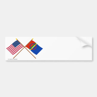 US and Sapmi Crossed Flags Bumper Sticker