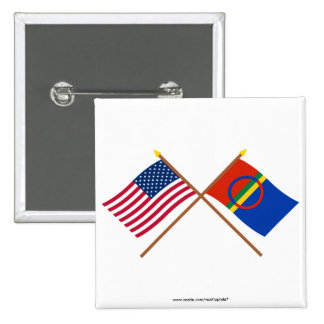 US and Sapmi Crossed Flags Button