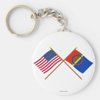 US and Sapmi Crossed Flags Keychain