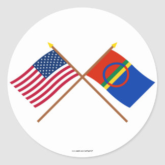 US and Sapmi Crossed Flags Sticker
