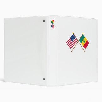 US and Senegal Crossed Flags Vinyl Binders