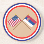 US and Serbia Crossed Flags Beverage Coaster