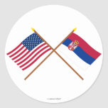 US and Serbia Crossed Flags Classic Round Sticker