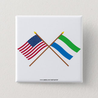 US and Sierra Leone Crossed Flags Button