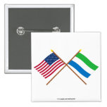 US and Sierra Leone Crossed Flags 2 Inch Square Button